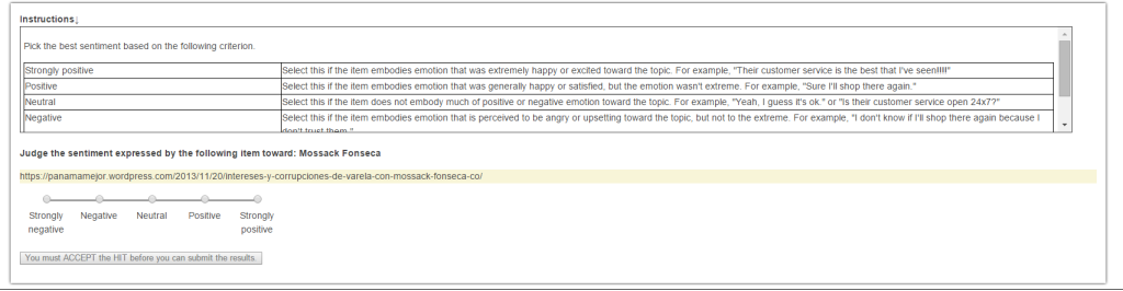 Mechanical Turk task for sentiment analysis.